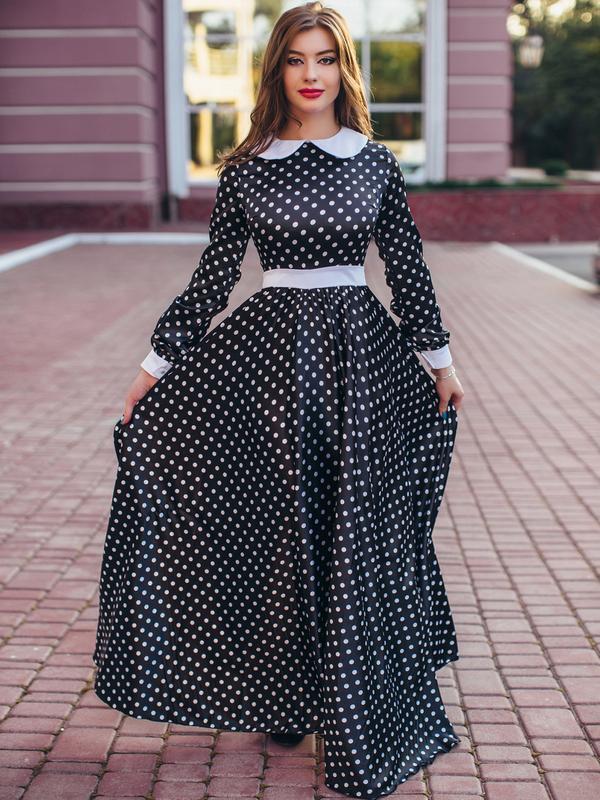 Фото длинное платье в горох