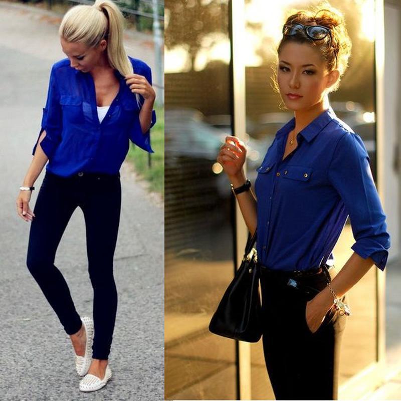С чем можно надеть голубую рубашку