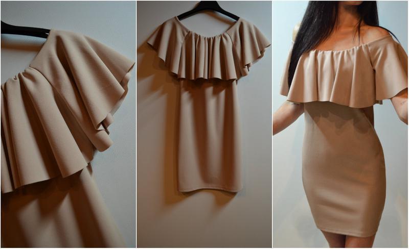 Платье с открытыми плечами и воланом своими руками 472