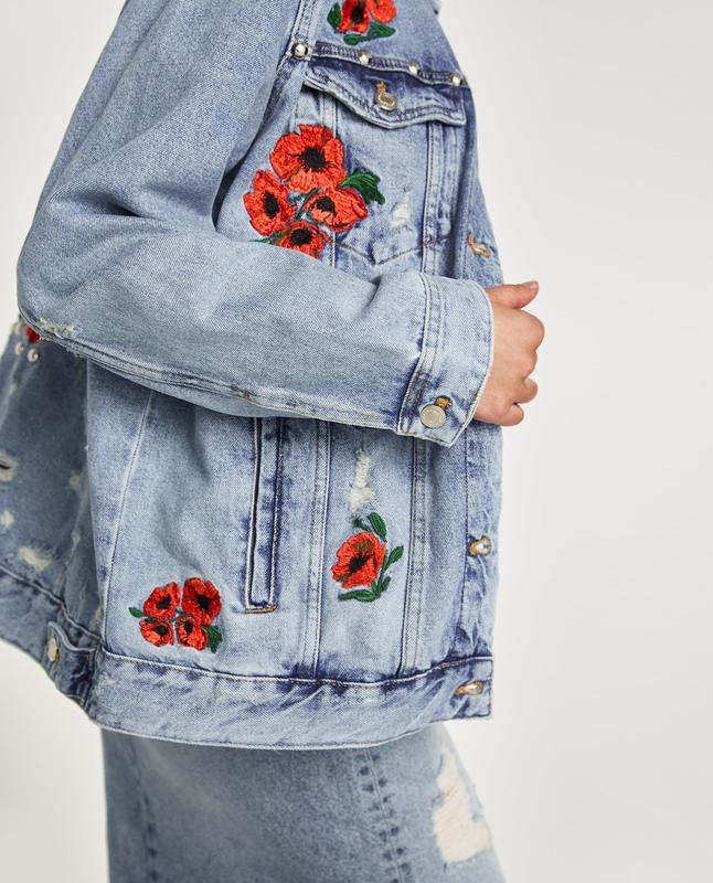 Зара джинсовые куртки с вышивкой 57