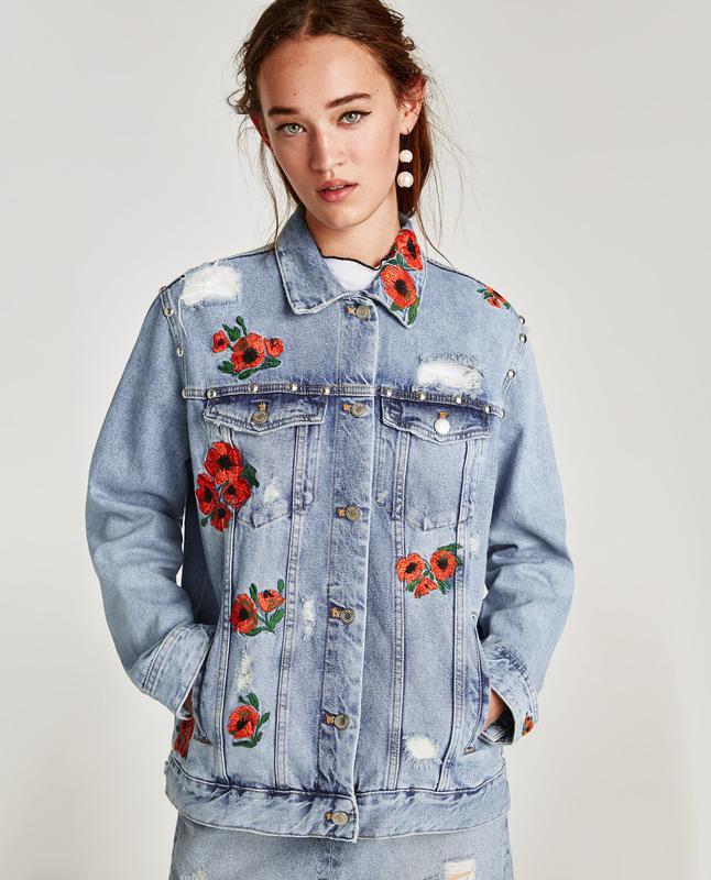 Зара джинсовые куртки с вышивкой 49