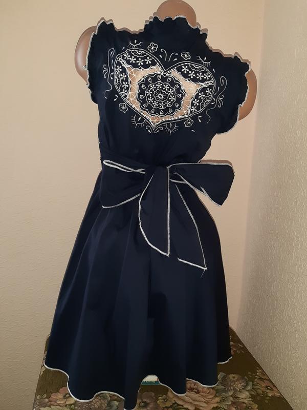 Красивое платье темно синего цвета, 100% хлопок, цена - 250 грн, #26900200, купить по доступной цене | Украина - Шафа