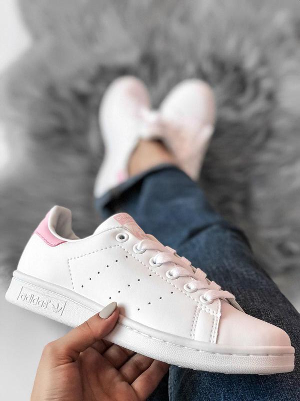 Adidas Stan Smith белые с розовым