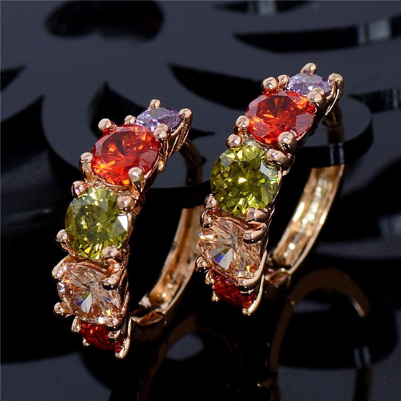 Позолоченные серьги кольца с разноцветными фианитами., цена - 100 ...