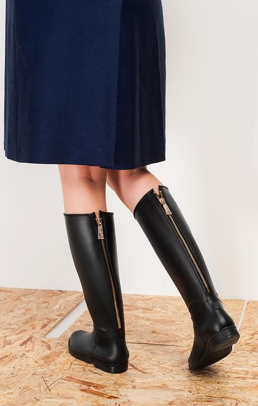 8cac10e35 ... Резиновые сапоги, силиконовая обувь, черные матовые с замком молнией  сзади рр 36-412 ...