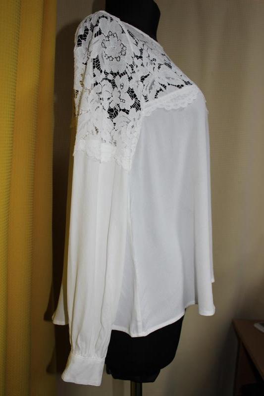 0b60755403f Белая блузка с кружевом от h m1 фото ...