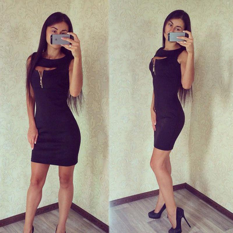 18f09952296 Черное платье по фигуре с вырезом и змейкой на груди1 фото ...