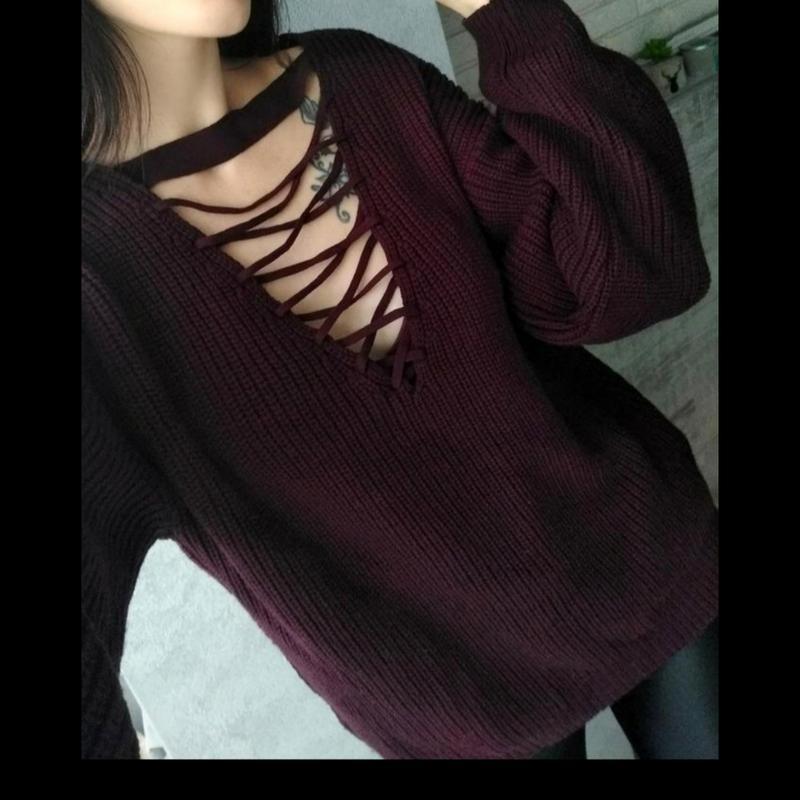 Обьемный оверсайз свитер с переплетом со шнуровкой, с чокером , бордовый  new look New Look, цена - 280 грн, #28905191, купить по доступной цене |  Украина - Шафа