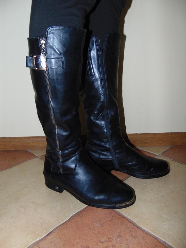Шкіряні зимові теплі чоботи з золотистими вставками Польша 0934d0195cd9f