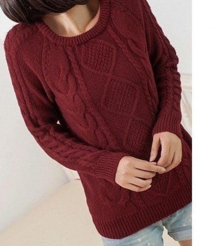 теплый вязаный свитер Hm бордовый марсала Hm цена 250 грн