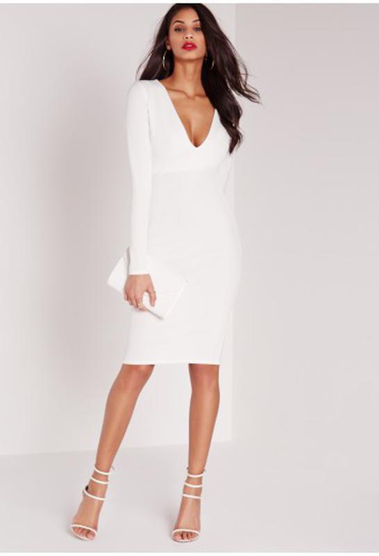 4c889deb6a66805 Нарядное, вечернее, новогоднее белое платье футляр Missguided, цена ...