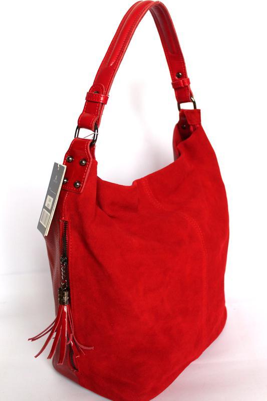 Большая кожаная сумка хобо - 100% натуральная зернистая кожа +натуральный  замш.1 ... 97d2912846e