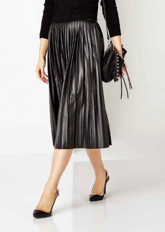 9a550fef54a Крутая юбка миди плиссе экокожа1 фото ...