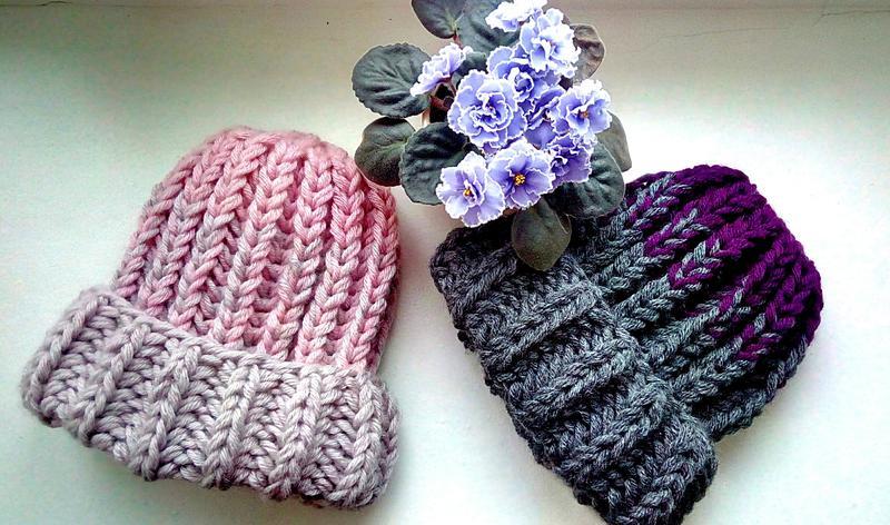 новая шерстяная обьемная вязаная шапка градиент Hand Made цена