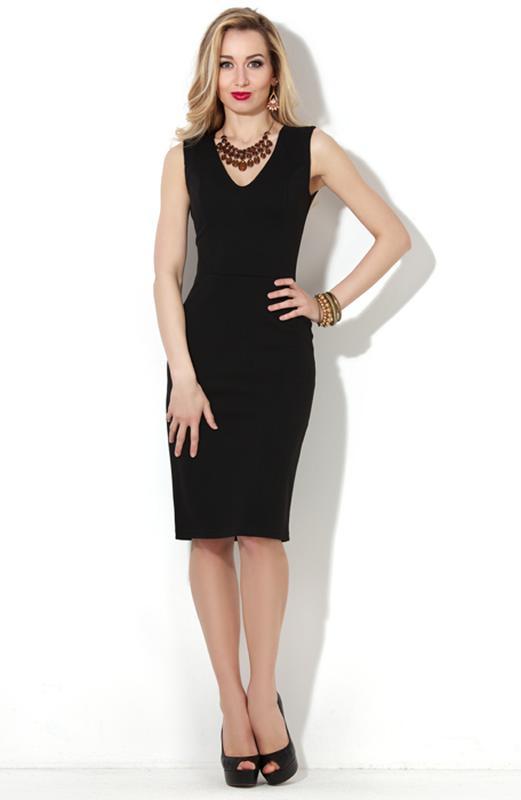 d08470513fb9 Классическое базовое черное платье-футляр миди с v-образным вырезом1 ...