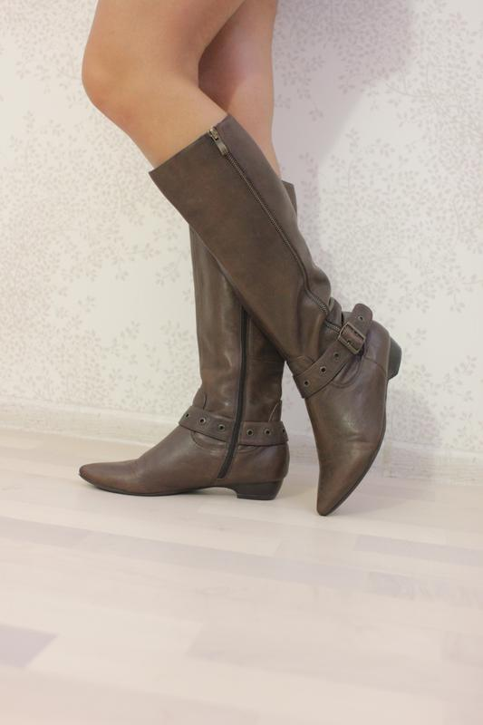 43d9e7022fa8 Кожаные сапоги на флисе, натуральная кожа, бренд janet d Janet D ...