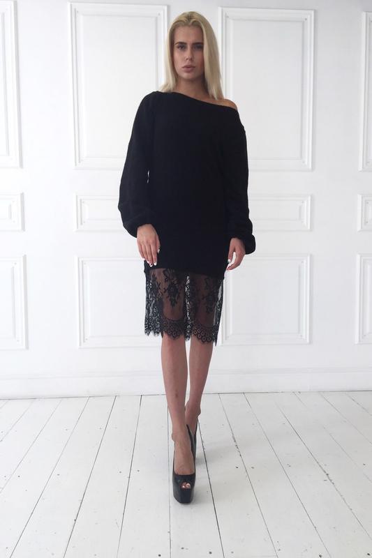 da3e2dc81b7 Теплое вязаное платье с французским кружевом1 фото ...