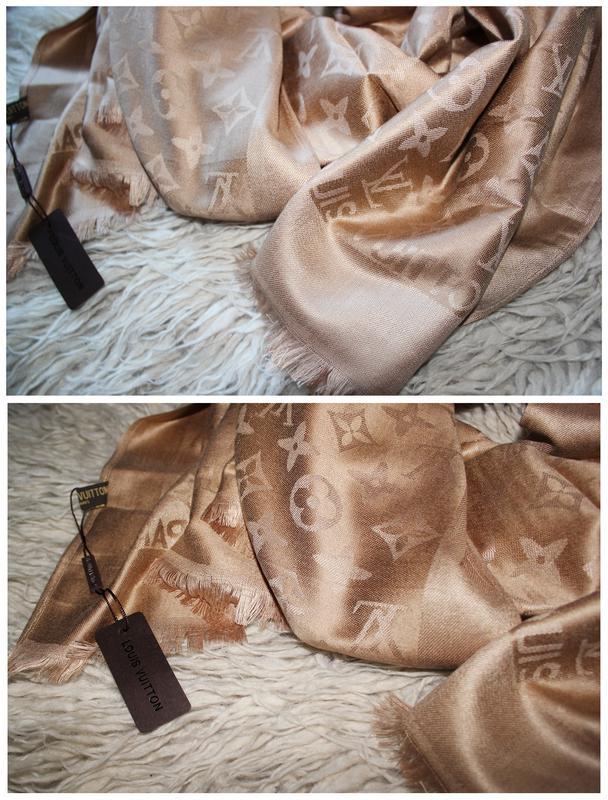 Нежный песочный   золотой   бежевый шарф - палантин из шелка и кашемира  louis vuitton1 ... 8b7c1ef0833