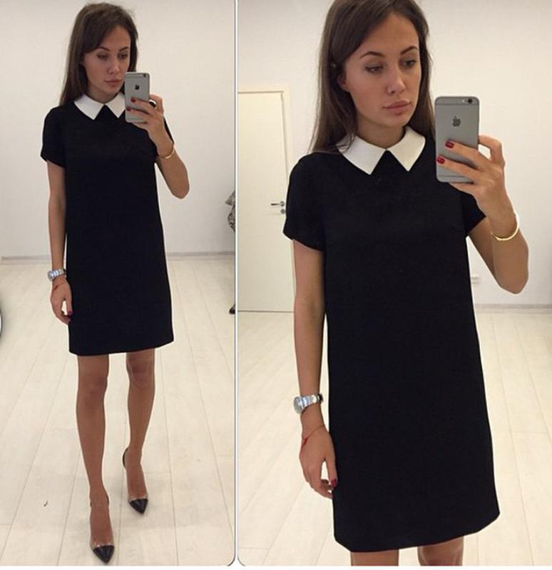 Черное платье с белым воротником – классика в чистом виде ., цена ... 961c7c7ba21