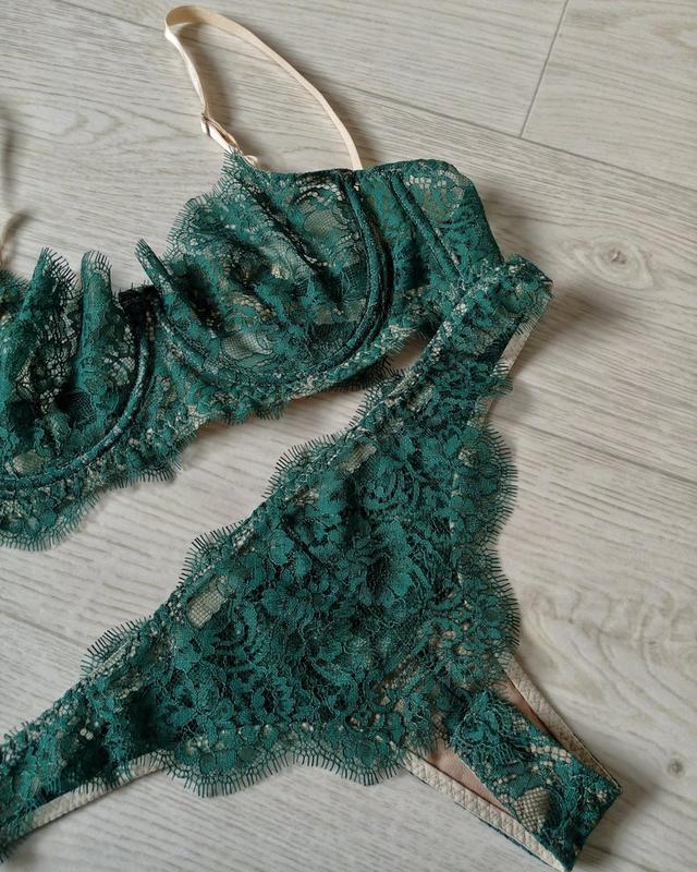 Темно зеленое белье кружевное нижнее белье женское новосибирск купить