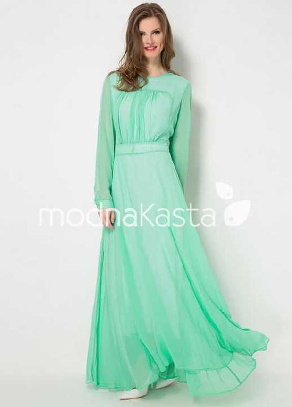 6fe30978e23 Мятное шифоновое платье в пол1 фото ...