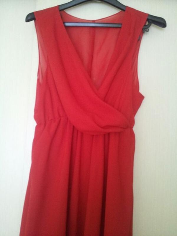6d48ca95494 Яркое красное шифоновое платье в пол1 фото ...