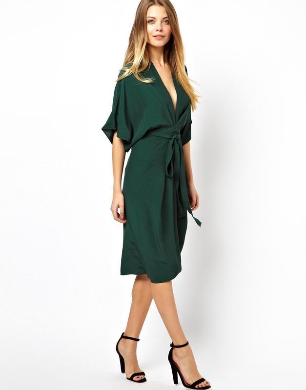 c2dbcc53ca62d90 Платье миди с запахом, рукавами кимоно и поясом оби asos ASOS, цена ...