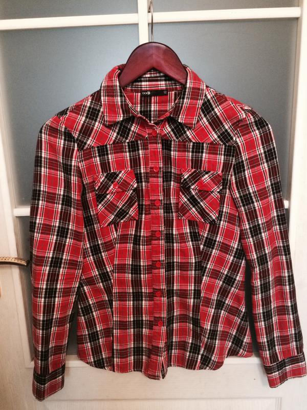 31b5d3eaedfe Тёплая, мягкая, красная женская рубашка в клетку oodji (Oodji) за 40 грн.    Шафа