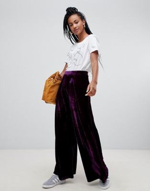 Широкие бархатные фиолетовые брюки,marks&spenser Marks & Spencer, цена - 115 грн, #32981707, купить по доступной цене | Украина - Шафа