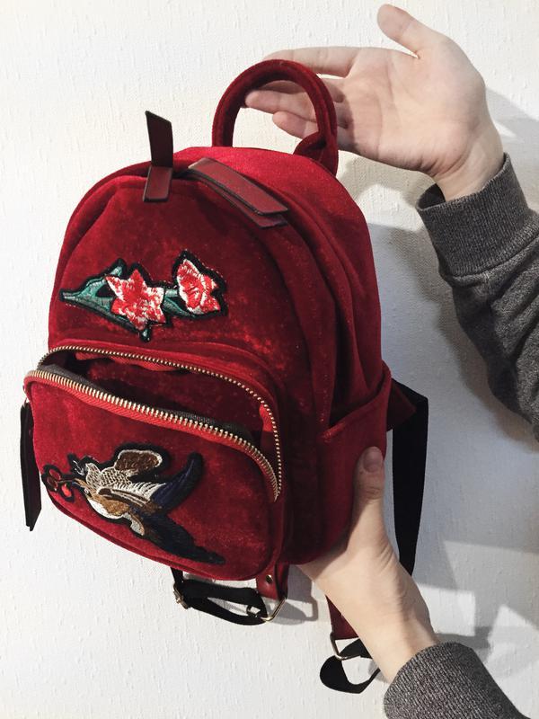dd790c16d989 Бархатный велюровый рюкзак красный марсала, цена - 595 грн, #3824872 ...