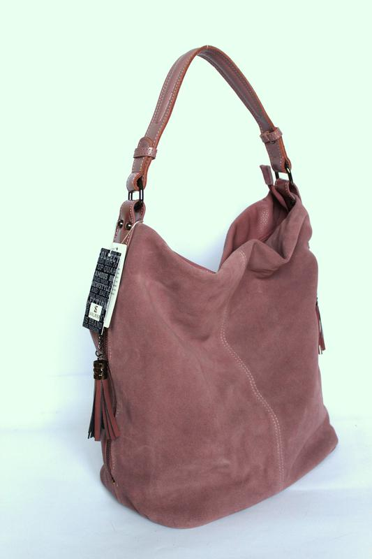 Большая кожаная сумка хобо,цвет пудра - 100% натуральная кожа +натуральный  замш. f61cceab215