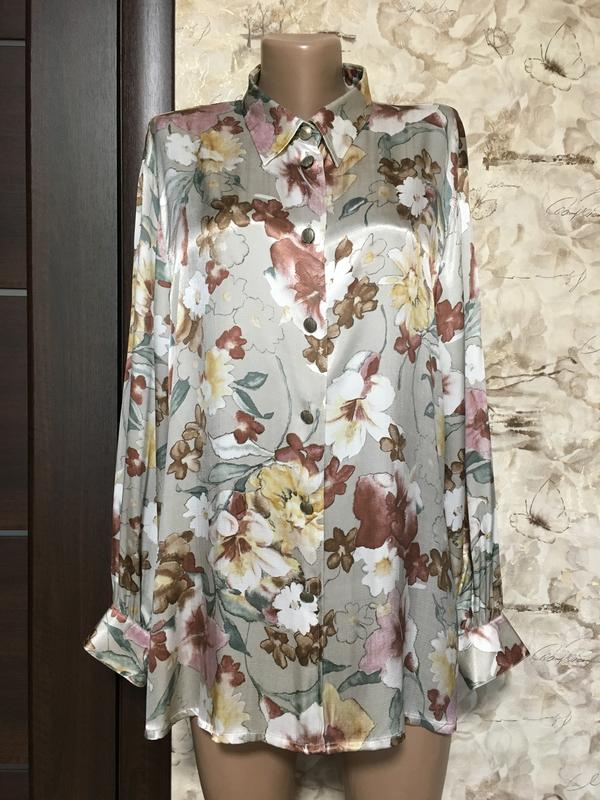 Роскошная натуральная атласная рубашка в принт,felicia Felicita, цена - 390 грн, #33997210, купить по доступной цене | Украина - Шафа