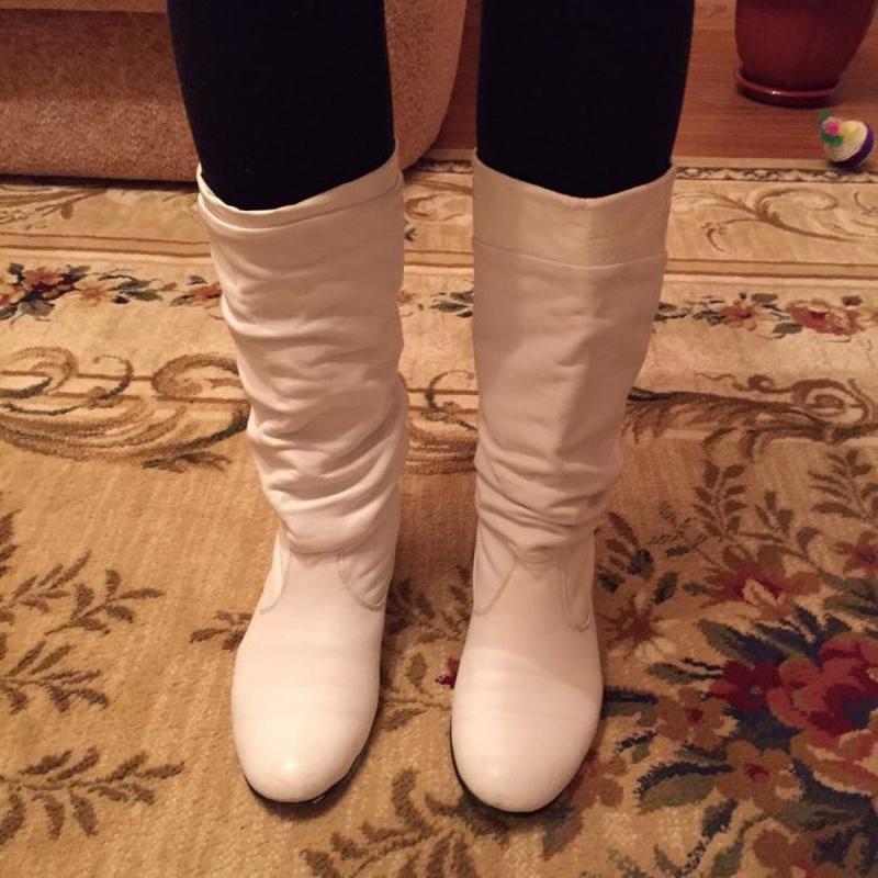 Сапоги белые кожаные