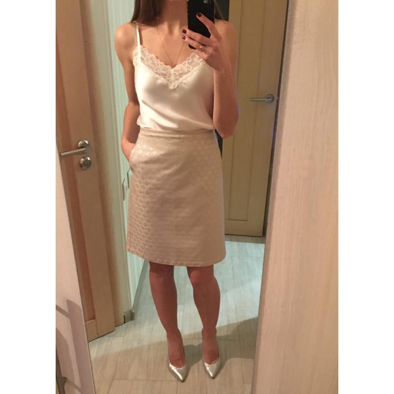 89629dc1798 Max mara италия оригинал бежевая серебристая нарядная юбка размер it 42 (м)1  ...