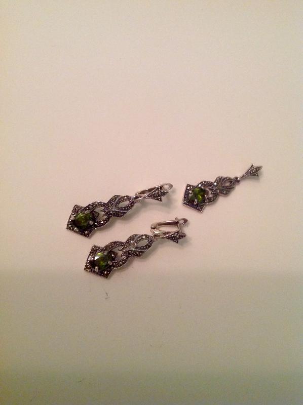 Очаровательный набор капельное серебро 925 пр с маркезитами и хризолитом1  ... 7c8aa096eee