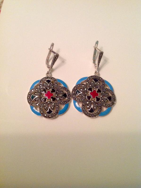 Шикарные стильные серьги капельное серебро 925 пр с маркизитами и эмаль1 ... 028707670a4