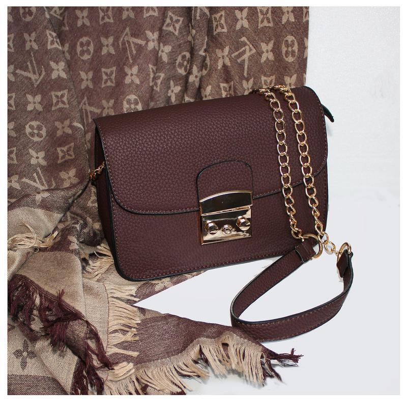 804775e14a72 Шоколадная матовая сумка в стиле furla на длинной цепочке (2 цвета ...