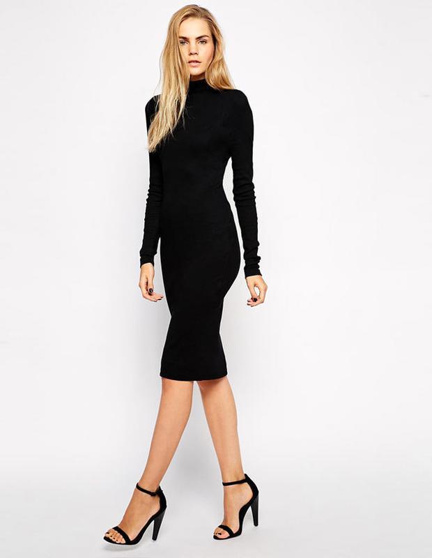 c4cd1f9f1ce Шикарное черное платье платье миди в рубчик atm Atmosphere