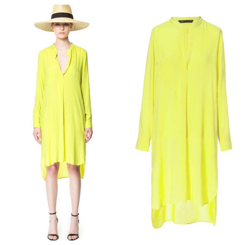 185878a4dfa Платье-рубашка желтого цвета1 фото ...