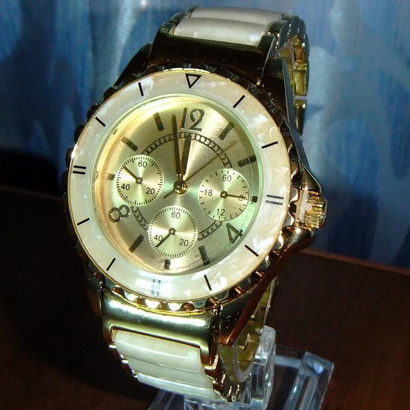 458a3af0 Позолоченные часы comtex со вставками из искусственного мрамора механизм  пр. япония!1 фото ...