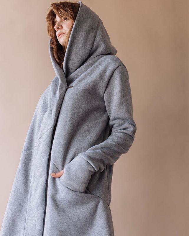 Тёплый серый кардиган с большим капюшоном / накидка ? за 650 грн.   Шафа