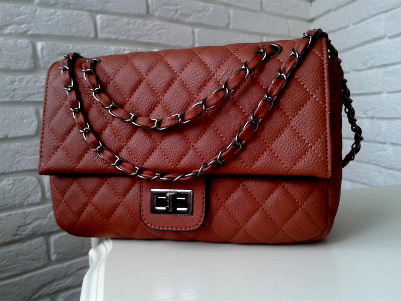 bf3029642a06 Коричневая стеганая сумка-клатч на цепочке, цена - 425 грн, #4315859 ...