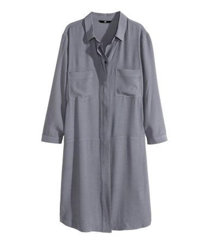 e4be8447d61 Очень крутое платье рубашка минимализм планочка мышиного цвета h   m1 ...