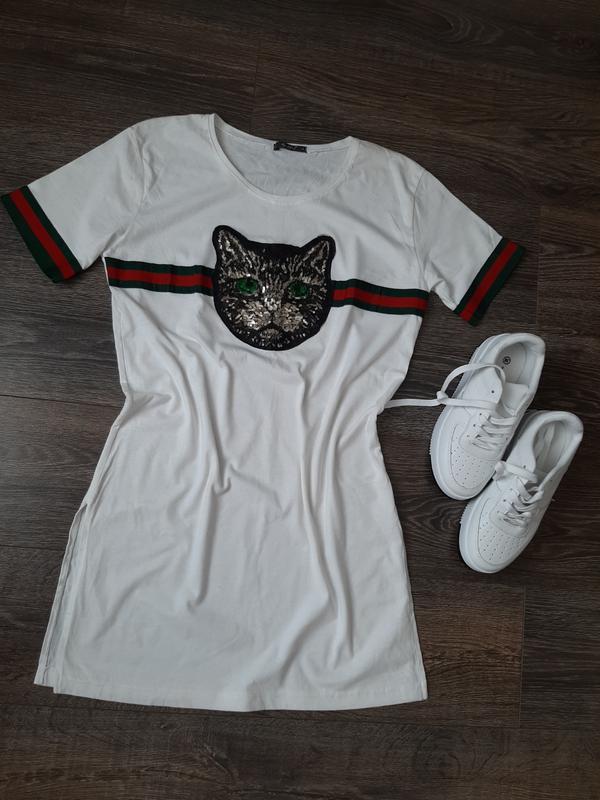 Стильная, удлиненная белая футболка Турция, цена - 180 грн, #38109883, купить по доступной цене | Украина - Шафа