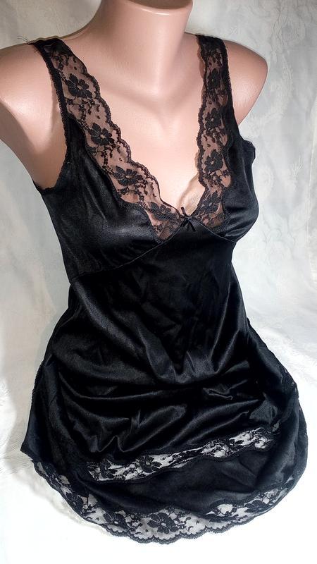 Черная сексуальная атласная ночнушка с кружевом  сексуальная ночнушка1 ... 60864ba130218