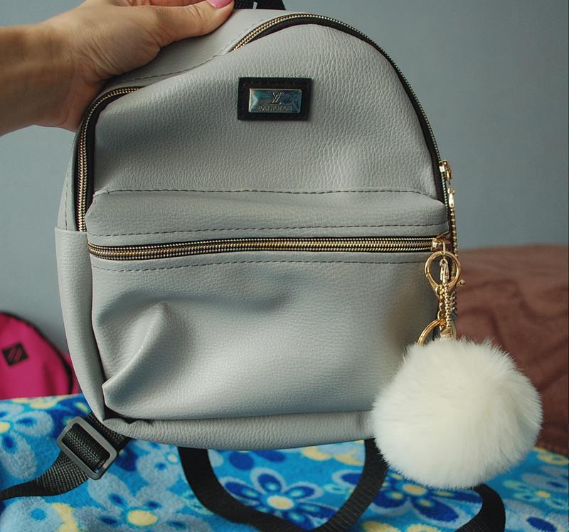 75c6ddd88397 Красивый бледно-голубой, серый рюкзак под кожу, портфель маленький,  сумочка1 фото ...
