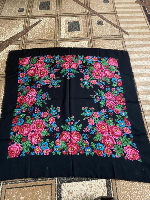 Натуральный лёгкий шерстяной большой платок в цветах этно стиль, цена - 40 грн, #38410269, купить по доступной цене | Украина - Шафа