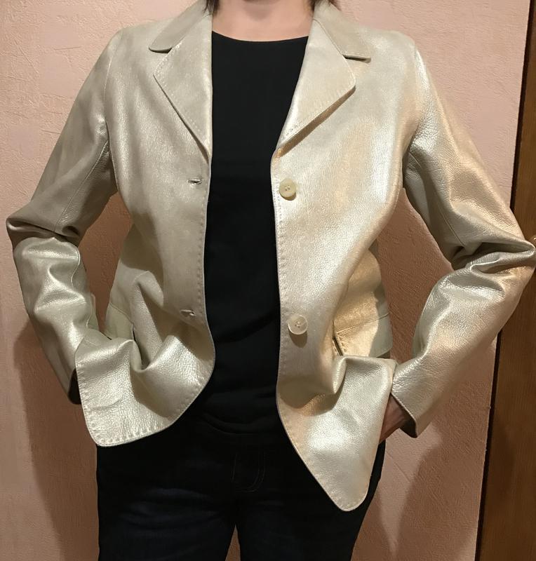 Женский кожаный пиджак золотистый hettabretz (италия), новый, 48-50 размер1  ... 9c20abc3108
