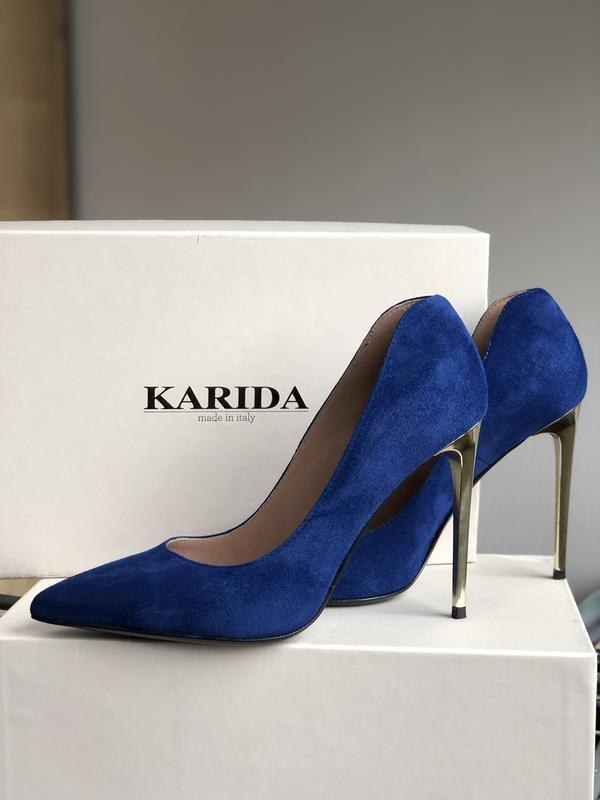 Синие туфли лодочки на шпильке натуральный замш италия 39р Италия, цена - 1850 грн, #39234568, купить по доступной цене | Украина - Шафа