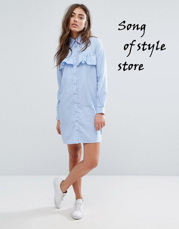 Платье рубашка голубое купить